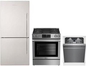"3-Piece Kitchen Package with BRFB1812SSLN 30"" Counter Depth Bottom Freezer Refrigerator, BGR30420SS 30"" Slide-In Gas Range, and a free DWT59500SS 24"" Built In Fully Integrated Dishwasher in Stainless Steel"