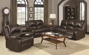 Boston 600971SET 3 PC Living Room set with Sofa + Loveseat + Chair in Brown Color