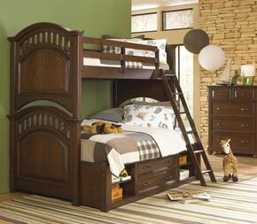 Expedition 84687303132SETB 3 PC Bedroom Set with Twin Size Bunk Bed + Chest + Underbed Storage Unit in Cherry Finish