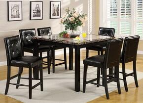 Atlas IV Collection CM3188PT476PC 7-Piece Dining Room Set with Round Counter Height Table and 6 Counter Height Side Chairs in Black