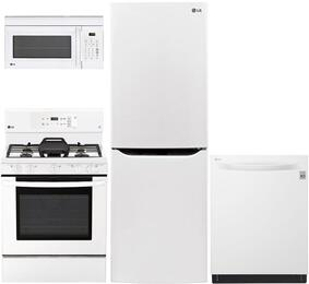 """4-Piece Kitchen Package with LBNC10551W 24"""" Bottom Freezer Refrigerator , LRE3193SW 30"""" Freestanding Gas Range, LMV1831SW 30"""" Over the Range Microwave, and LDT5665WW 24"""" Built In Fully Integrated Dishwasher in White"""