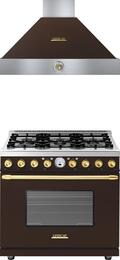 2-Piece Brown Matte with Gold Accent Kitchen Package with RD361SCMCB 36