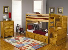 460140460240F Wrangle Hill Full Over Full Bunk Bed + Under Dresser + Stairway Chest + Chest in Amber Wash Finish