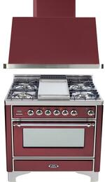 2-Piece Burgundy Kitchen Package with UM90FDMPRBX 36