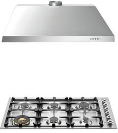 "2-Piece Stainless Steel Kitchen Package with QB36600X 36"" Natural Gas Cooktop and KU36PRO1X14 36"" Canopy Hood"