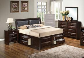 G1525IQSB4DMN 4 Piece Set including  Queen Size Bed, Dresser, Mirror and Nightstand  in Cappuccino