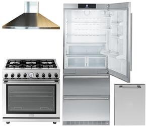 "5-Piece Kitchen Package with CS2060 36""  Bottom Freezer Refrigerator, RN361SPSS 48"" Freestanding Dual Fuel Range, CLAS36SS 30"" Wall Mount Convertible Hood, DWPSS 24"" Dishwasher Door Panel, and 099059200 Oven Handle in Stainless Steel"