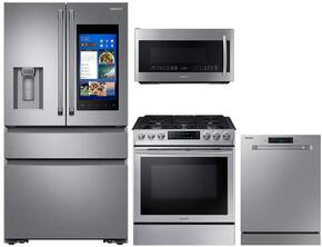"4-Piece Stainless Steel Kitchen Package with RF23M8590SR 36"" French Door Refrigerator, NX58M9420SS 30"" Slide-In Gas Range, DW80M9550US 24"" Fully Integrated Dishwasher and ME21K7010DS 30"" Over-the-Range Microwave"