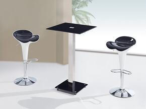 MD096-BT-M205BS-WH/BL-3PC-SET 3 Piece Bar Table Set, 1 Square Top Table + 2 Black/White Chairs