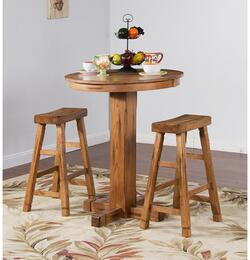 Sedona Collection 1165ROBT2SS 3-Piece Bar Table Set with Pub Table and 2 Saddle Seat Barstools in Rustic Oak Finish