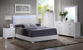 Lorimar 22640Q6PC Bedroom Set with Queen Size Bed + Dresser + Mirror + Chest + 2 Nightstands in White Color