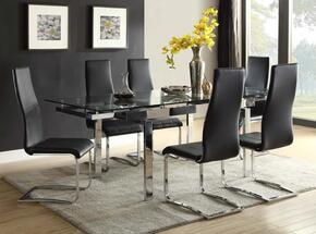 1062815PC Modern Dining Contemporary Glass Dining Table and 4 Dining Chairs in Black and Stainless Steel