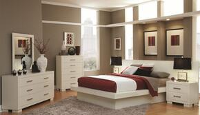 Jessica 202990Q5PCSET 5-Piece Bedroom Set with Queen Platform Bed, Dresser, Mirror, Chest and Nightstand in White