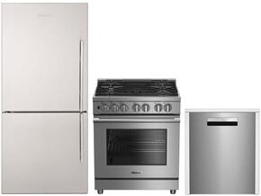 "3-Piece Kitchen Package with BRFB1812SSLN 30"" Counter Depth Bottom Freezer Refrigerator, BDFP34550SS 30"" Freestanding Dual Fuel Range, and a free DWT58500SS 24"" Built In Fully Integrated Dishwasher in Stainless Steel"