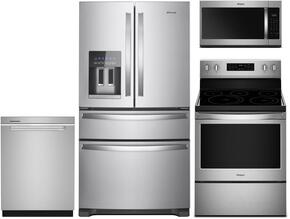 "4-Piece Kitchen Package With WRX735SDHZ 36"" French Door Refrigerator, WFE540H0ES 30"" Electric Range, WMH32519HZ 30"" Over-the-Range Microwave and WDTA50SAHZ 24"" Fully Integrated Dishwasher in Stainless Steel"