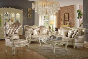 Grace 687-S-L-C 3 Piece Living Room Set with Sofa + Loveseat and Chair in Pearl White Color