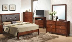 G1200AFBDMTV 4 Piece Set including Full Bed, Dresser, Mirror and Media Chest with Padded HeadBoard,  Wood frame and Tapered Legs in Cherry