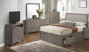 G1205BKSBDMTV 4 Piece Set including King Storage Bed, Dresser, Mirror and Media Chest  in Gray