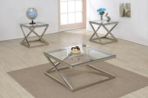 Ollie 81140CE 3 PC Living Room Table Set with Coffee Table + 2 End Tables in Brushed Nickel