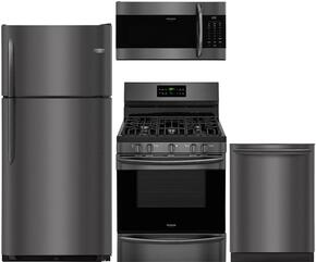"4-Piece Black Stainless Steel Kitchen Package with FGTR1842TD 30"" Top Freezer Refrigerator, FGGF3036TD 24"" Freestanding Gas Range, FGMV176NTD 30"" Over The Range Microwave and FGID2466QD 24"" Fully Integrated Dishwasher"