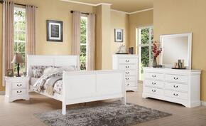 Louis Philippe III 24500Q5PC Bedroom Set with Queen Size Bed + Dresser + Mirror + Chest + Nightstand in White Color