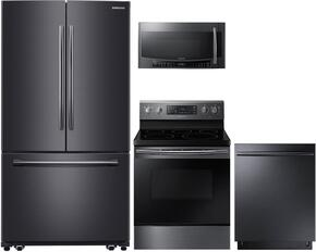 "4-Piece Black Stainless Steel Kitchen Package with RF261BEAESG 36"" French Door Refrigerator, NE59M4320SG 30"" Electric Range, DW80K7050UG 24"" Fully Integrated Dishwasher and MC17J8000CG 30"" Over-the-Range Microwave"