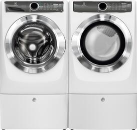 "Island White Front Load Laundry Pair with EFLS617SIW 27"" Washer, EFMG617SIW 27"" Gas Dryer and 2 EPWD157SIW Pedestals"