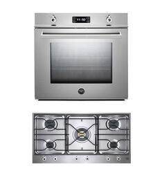 "Professional F30PROXT 30"" Single Electric Wall Oven 2 Piece Stainless Steel Kitchen Package with PM36500X 36"" Gas Cooktop"