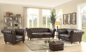 G751SET 3 PC Living Room Set with Sofa + Loveseat + Armchair in Dark Brown Color