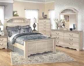 Catalina King Bedroom Set with Panel Bed, Dresser, Mirror and Chest in Antique White