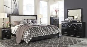 Fancee King Bedroom Set with Panel Bed, Dresser, Mirror, Chest and 2 Nightstands in Black