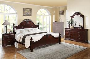 21857EK4PCSET Gwyneth E. King Size Bed + Dresser + Mirror + Nightstand in Cherry Finish