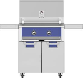 """30"""" Natural Gas Grill with ECD30BU Tower Grill Cart with Two Doors, in Prince Blue"""
