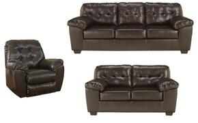 Alliston Collection 20101SLR 3-Piece Living Room Set with Sofa, Loveseat and Recliner in Chocolate