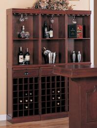 30801SET3 Set of 3 Coaster Lambert Traditional Wine Wall Bar Units with Smooth Tops with Clean Edge, Hanging Racks Along the Top for Wine Glasses in Cherry