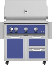 "36"" Freestanding Liquid Propane Grill with GCR36BU Tower Grill Cart with Double Drawer and Door Combo, in Prince Blue"