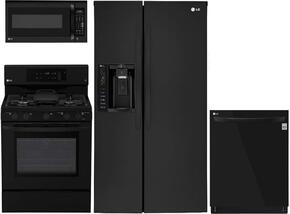 "4-Piece Kitchen Package with LSXS26326B 33"" Side by Side Refrigerator, LRG3193SB 30"" Freestanding Gas Range, LMV1831SB 30"" Over the Range Microwave, and LDP6797BB 24"" Built In Fully Integrated Dishwasher in Black"