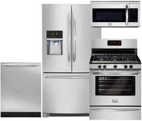 """Gallery 4-Piece Stainless Steel Kitchen Package with DGHF2360PF 36"""" Freestanding French Door Refrigerator, FGGF3030PF 30"""" Freestanding Gas Range, FGID2466QF Fully Integrated Dishwasher and FGMV175QF Over-the-Range Microwave"""