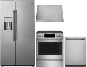 "4-Piece Kitchen Package with CZS22MSKSS 36"" Side by Side Refrigerator, C2S986SELSS 30"" Slide-in Dual Fuel Range, CV936MSS 30"" Wall Mount Ducted Hood, and a free CDT835SSJSS 24"" Built In Fully Integrated Dishwasher in Stainless Steel"