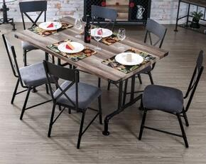 Brixton I Collection CM3365T6SC 7-Piece Dining Room Set with Rectangular Table and 6 Side Chairs in Natural Tone Finish