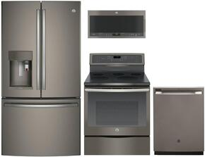 "4-Piece Slate Kitchen Package with PFE28PMKES 36"" French Door Refrigerator, PB911EJES 30"" Freestanding Electric Range,  PVM9005EJES 30"" Over the Range Microwave, and PDT845SMJES 24"" Fully Integrated Dishwasher"