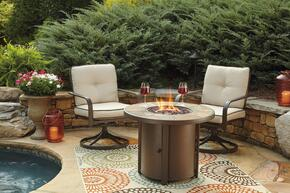 Predmore Collection P324T2C 3-Piece Outdoor Patio Set with Round Fire Pit Table and 2 Swivel Chairs in Beige and Brown