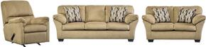 Aluria Collection 18201SLR 3-Piece Living Room Set with Sofa, Loveseat and Recliner in Mocha