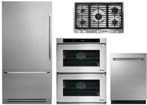 "4-Piece Stainless Steel Kitchen Package with DYF36BFTSL 36"" Bottom Freezer Refrigerator, RNCT305GSLP 30"" Liquid Propane Cooktop, RNWO230PS 30"" Double Wall Oven, and DDW24M999US 24"" Fully Integrated Dishwasher"