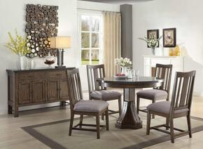 """Willowbrook 106980 46"""" Rustic Industrial Round Dining Table and 4 Dining Chairs"""