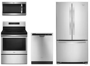 "4 Piece kitchen Package with WFE520S0FS 30"" Electric Freestanding Range, WMH32519FS Over the Range Microwave Oven, WDF520PADM 24"" Built In Full Console Dishwasher and WRF535SMBM 36"" Freestanding French Door Refrigerator in Stainless Steel"