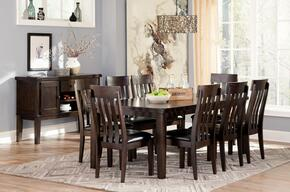 Haddigan D596T8CS 10-Piece Dining Room Set with Extendable Table, 8 Side Chairs and Server Cabinet in Dark Brown Finish