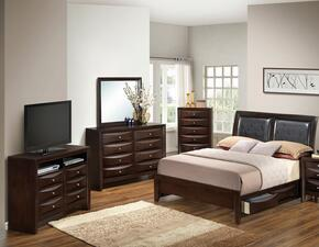 G1525DDTSB2DMCHTV2 5 Piece Set including Twin Size Bed, Dresser, Mirror, Chest and Media Chest in Cappuccino