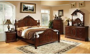 Velda II Collection CM7952CKBDMN 4-Piece Bedroom Set with California King Bed, Dresser, Mirror, and Nightstand in Brown Cherry Finish