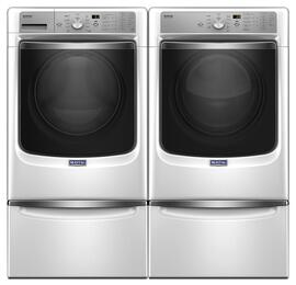 "White Front Load Laundry Pair with MHW8200FW 27"" Washer, MED8200FW 27"" Electric Dryer and 2 XHPC155XW Pedestals"